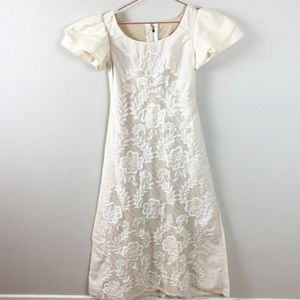 Embroidered Lace Trapeze Dress w Ruffle Shoulders